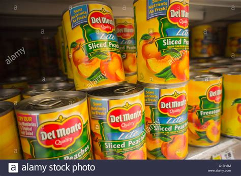 Canned Fruit Shelf cans of monte foods canned fruit are seen on a