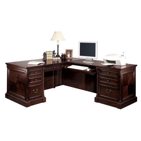 L Shaped Cherry Desk Kathy Ireland Home By Martin Mount View Executive Rhf L Shaped Desk In Cherry Cobblestone