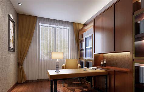 minimalist study room 3d minimalist interior with purple and white curtains 3d house