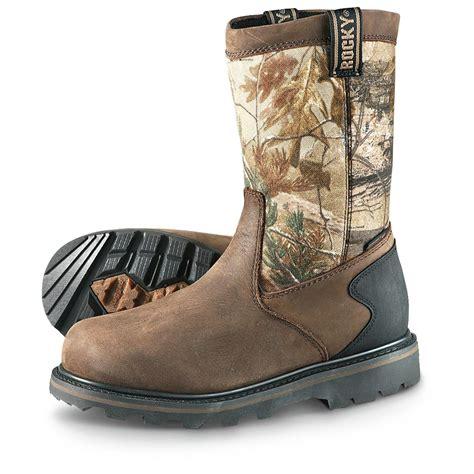 mens camo boots s rocky 174 10 quot waterproof outdoor wellington boots