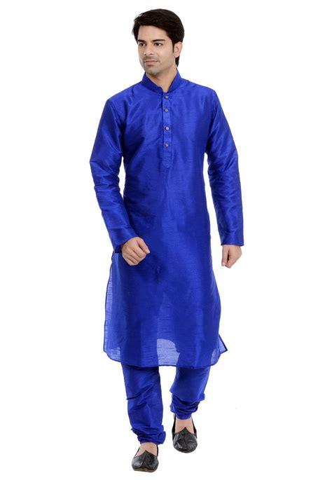 plain dupion silk kurta pajama in light blue mtr24 plain dupion silk kurta pajama in royal blue mtr31