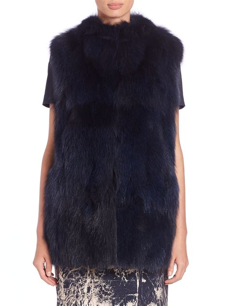 Azaria Maxmara max mara arad fox fur vest in blue midnight blue lyst