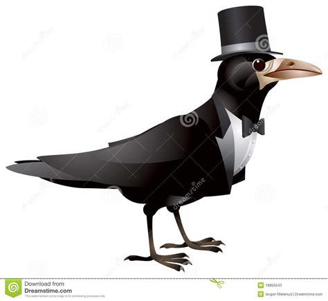 bird dressed in black tie and top hat stock vector