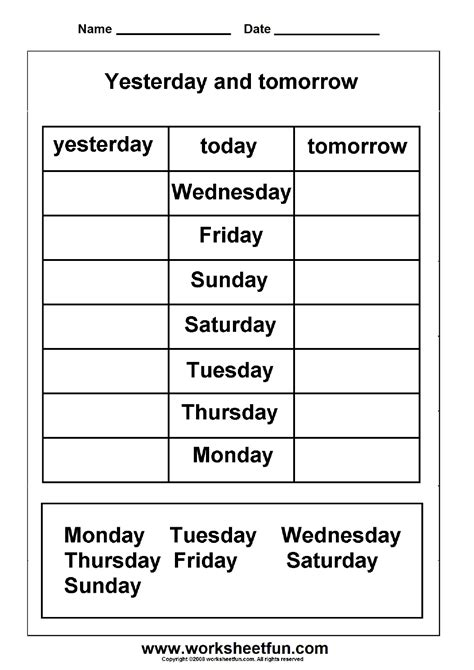 today is what day in week days of the week yesterday and tomorrow printable