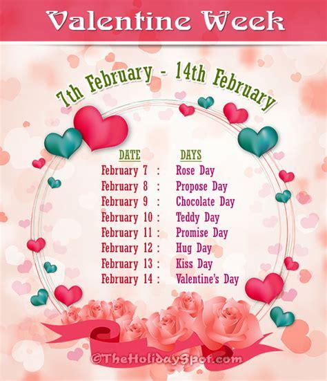 valentin day list s week list of 2018