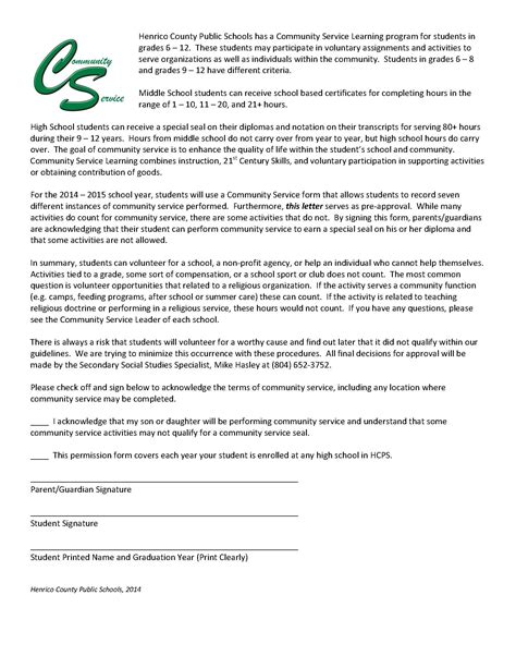 Community Service Parent Letter community service rebel hub