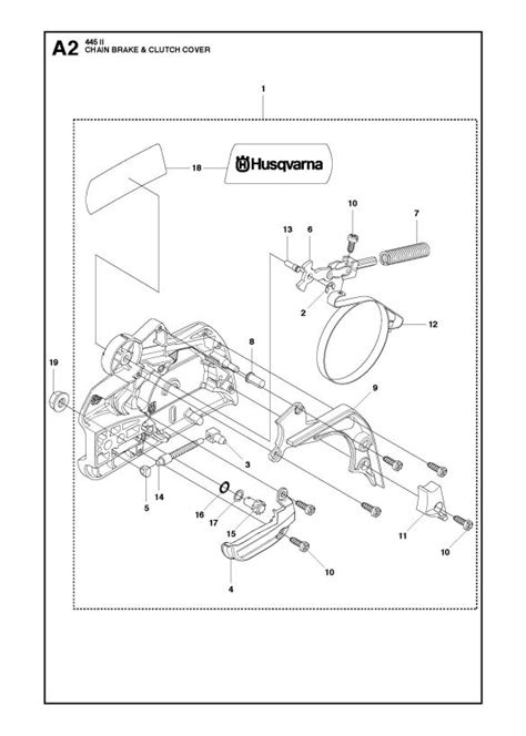husqvarna 445 chainsaw parts diagram husqvarna 445 e ii chainsaw chain brake clutch cover
