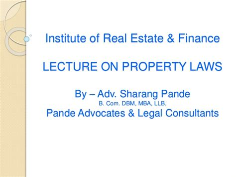 Mba Real Estate Finance by Iref Presentation