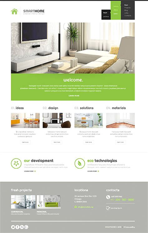 Home Interior Website Templates Entheos