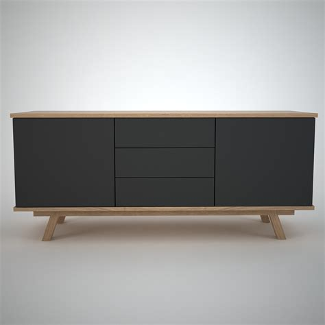 Contemporary Oak Sideboard Ottawa Sideboard 2 3 Anthracite Join Furniture
