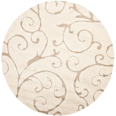 round accent rugs safavieh florida shag cream beige 5 ft x 5 ft round area