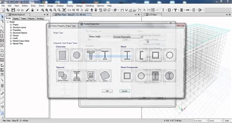 cutting layout definition etabs define material and section property youtube