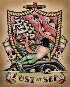 lost at sea mermaid nautical tattoo flash