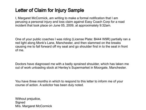 Demand Letter Insurance Personal Injury Personal Injury Claim Demand Letter