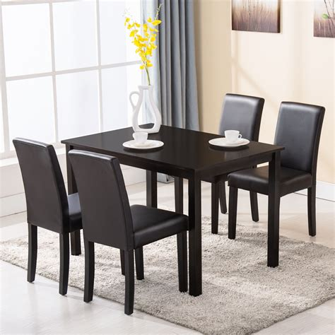Dining Room Table With 4 Chairs 5 Dining Table Set 4 Chairs Wood Kitchen Dinette Room Breakfast Furniture Ebay