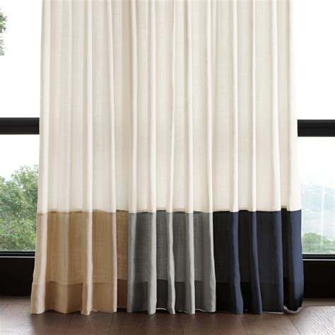 banded drapes bottom border rod pocket drape navy williams sonoma