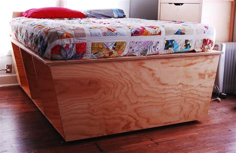 Bed Headboards Diy plywood bed frame designed for optimum storage apartman