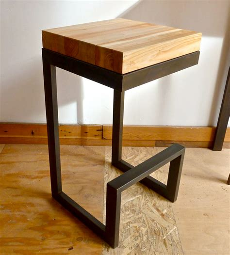 reclaimed wood steel barstool home furniture