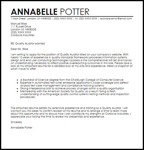 cover letter for staff auditor posi