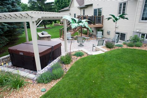 outdoor patio pergola tub and grilling area r d