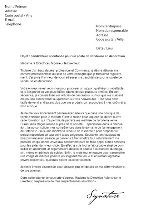 4 lettre de motivation candidature spontan 233 e vendeuse cv vendeuse