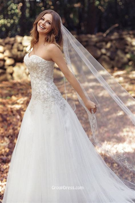 wedding dresses princess strapless sweetheart neck a line beaded tulle