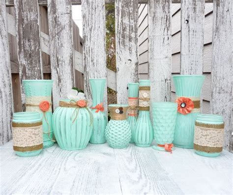 Mint And Coral Home Decor Mint Green And Coral Decoration Burlap And Lace