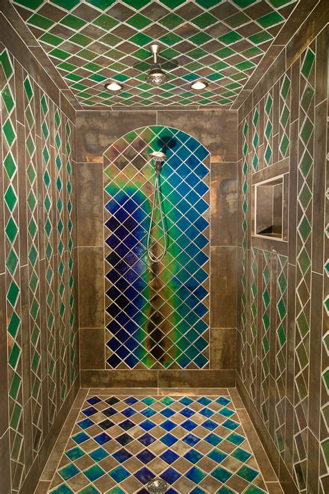 shower with heat sensitive tiles pics