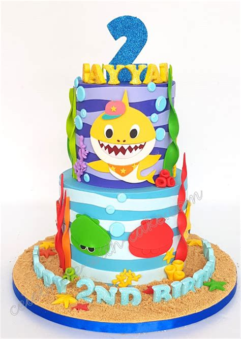 baby shark bday cake celebrate with cake baby shark 2 tiers