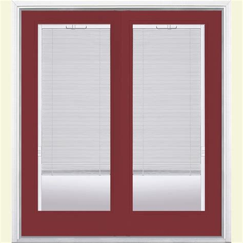 Patio Door Frame Masonite 72 In X 80 In Bluff Fiberglass Prehung Right Inswing Mini Blind Patio Door W