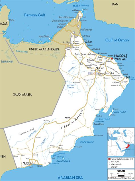 oman on map detailed clear large road map of oman ezilon maps