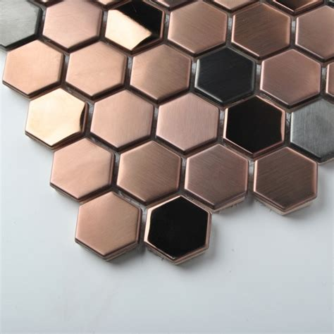 stainless steel bathroom tiles hexagon stainless steel brushed mosaic tile rose gold