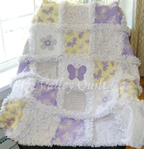 Die Cut Quilt Kits by Prefringed Cut Rag Quilt Kit Lavender And Yellow Butterflies And Flowers Die Cut Appliques