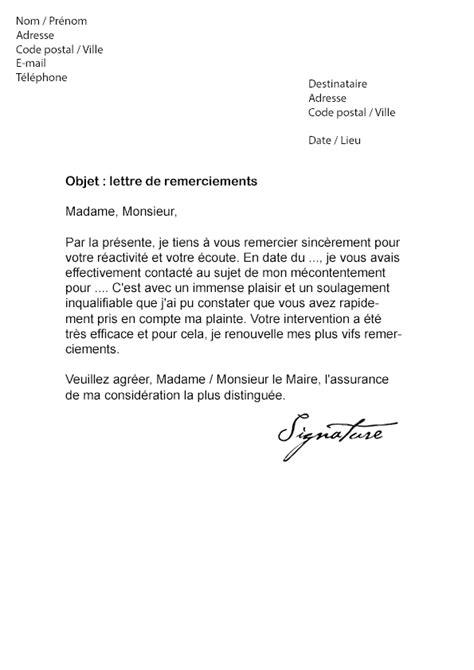 Lettre De Remerciement Journaliste Lettre De Remerciement Au Maire Mod 232 Le De Lettre