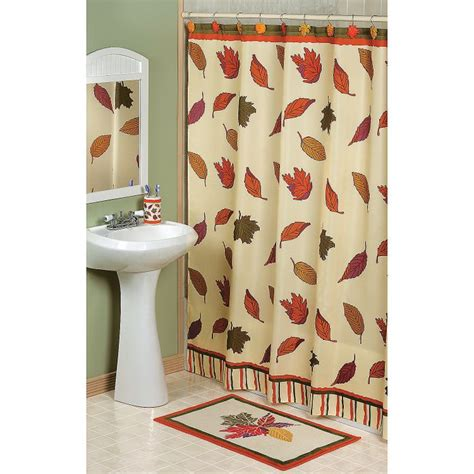 Thanksgiving Bathroom Decor fall leaves shower curtain terrysvillage