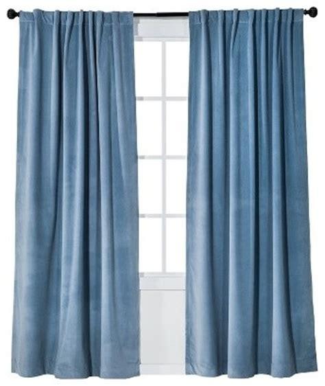blue velvet curtain threshold velvet light block window panel blue