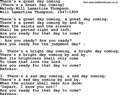 lyrics day is american song lyrics for there s a great day coming