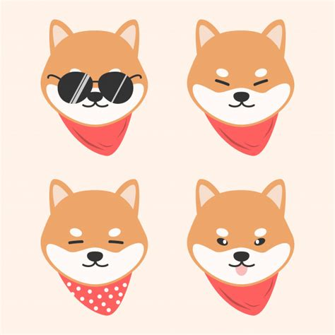 cute dog shiba inu  scarf cartoon doodle animal vector