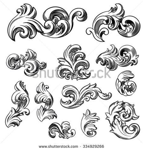 freehand filigree drawing by joshua set of vector vintage baroque engraving floral scroll