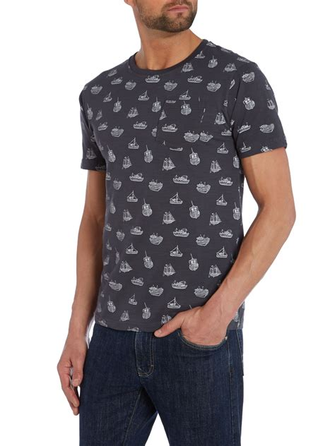 Crew Neck Printed T Shirt Mens by Bellfield Boat Print Crew Neck T Shirt In Blue For Lyst
