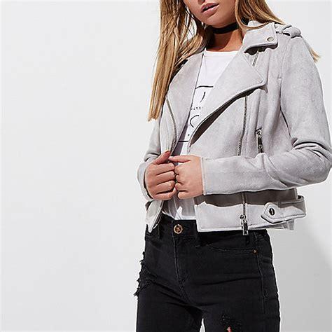 light grey moto jacket light grey faux suede biker jacket jackets coats
