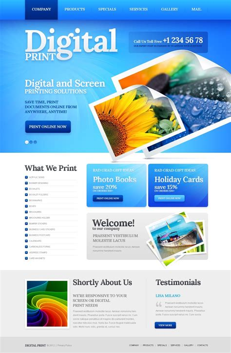 Print Shop Website Template 40305 And Gas Company Website Template