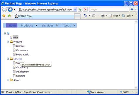 design menu control in asp net dr bob examines 99 asp net 2 0 master content pages