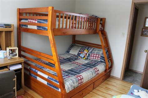 full bed bunk bed oak twin over full bunk bed