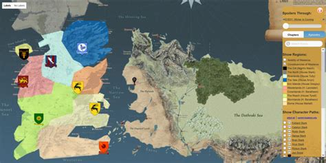 map layout for game of thrones this map shows you around the game of thrones universe