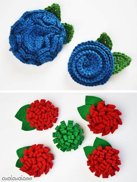 fiori di feltro schemi tre spille con fiori fai da te feltro o uncinetto paperblog