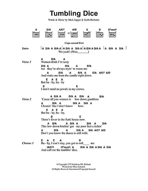 stones lyrics tumbling dice sheet by the rolling stones lyrics