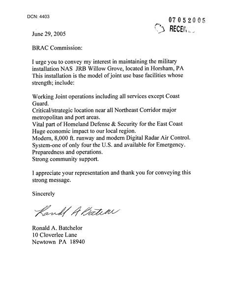 Letter from Ronald A. Batchelor to the Commission in