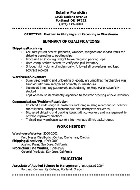 Shipping And Receiving Resume Clerk Warehouse Stock