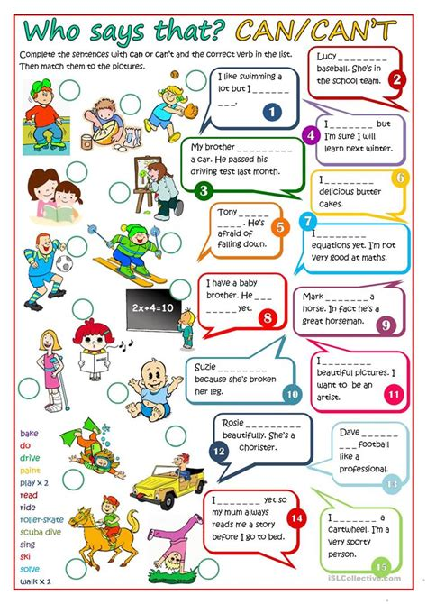 esl le who says that can can quot t worksheet free esl